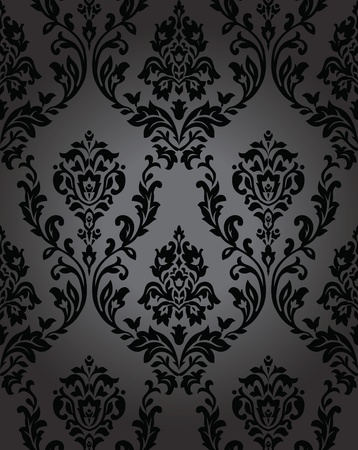 baroque background: Seamless wallpaper baroque black Illustration