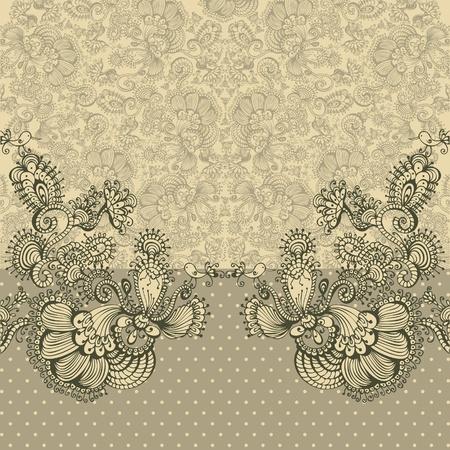 frame flower: Ornate card announcement, vector illustration.
