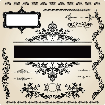 baroque frame: set of vintage design elements