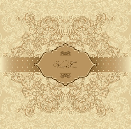 Vintage template with decorative birds. Vector Illustration. Vector