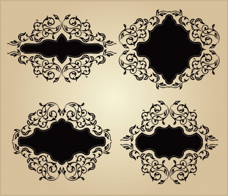 Set of vintage frames with floral ornament Vector