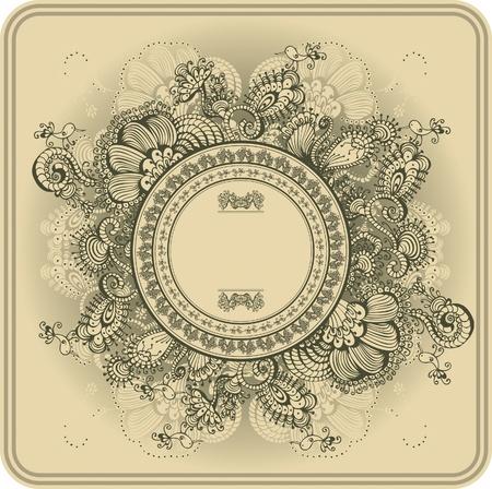 pajaro  dibujo: Patrón de marco de la vendimia y las aves, el dibujo a mano Vectores