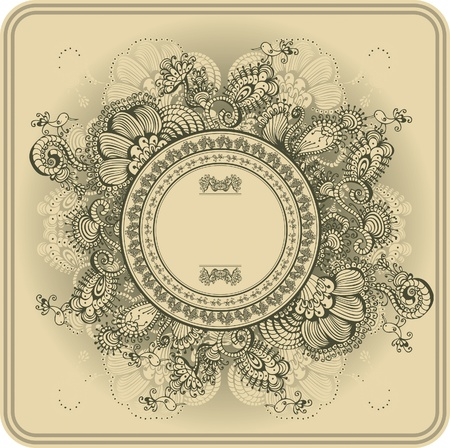 Vintage frame pattern and birds, hand-drawing Vector