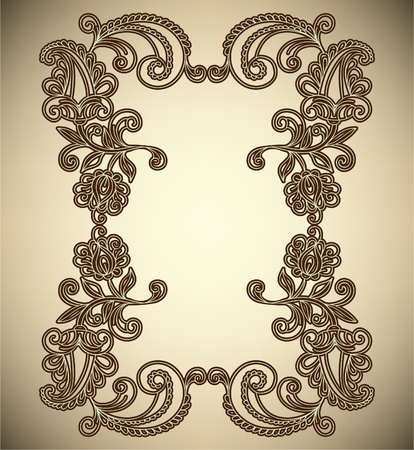 Vintage Frame with abstract flowers Stock Vector - 12084005