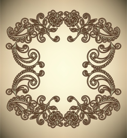 Vintage Frame with abstract flowers Vector