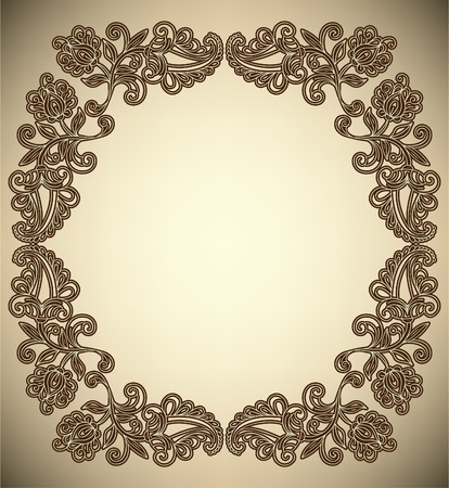 Vintage Frame with abstract flowers Stock Vector - 12084007