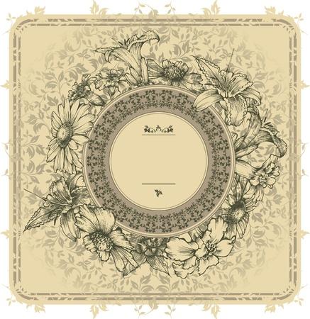 french label: Marco de la vendimia con flores en flor