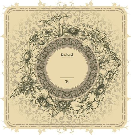 nostalgic: Vintage frame with blooming flowers Illustration