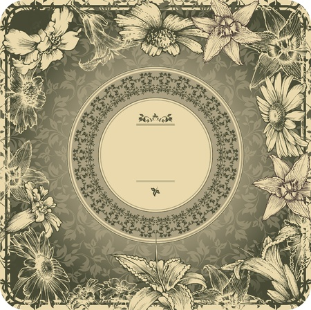 Vintage frame with blooming flowers Vector