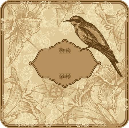 Marco de la vendimia con lirios en flor y los pájaros, dibujo a mano.
