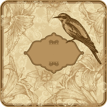 Vintage frame with blooming lilies and birds, hand-drawing. Vector