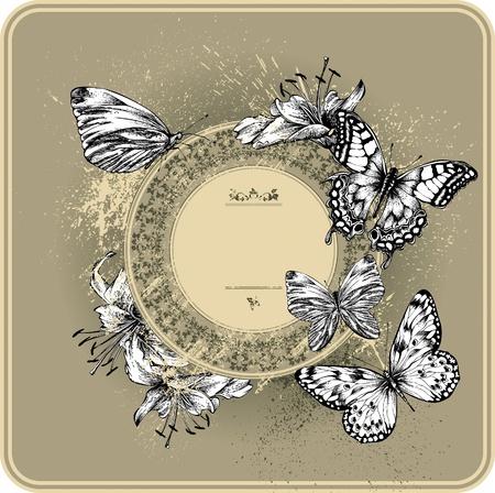 farfalla tatuaggio: Vintage cornice con gigli in fiore e farfalle, disegno a mano Vettoriali