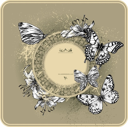 Vintage frame with blooming lilies and butterflies, hand drawing Vector