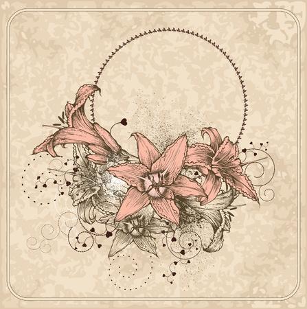 Marco de la vendimia con lirios en flor y el corazón.