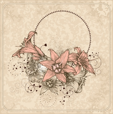 Vintage frame with blooming lilies and heart. Vector