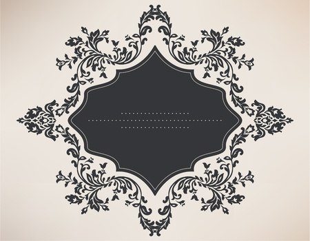 sketch pattern: Vintage marco con adornos florales