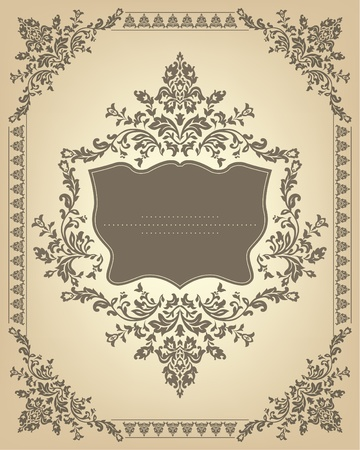 Vintage frame with floral ornament. Vector