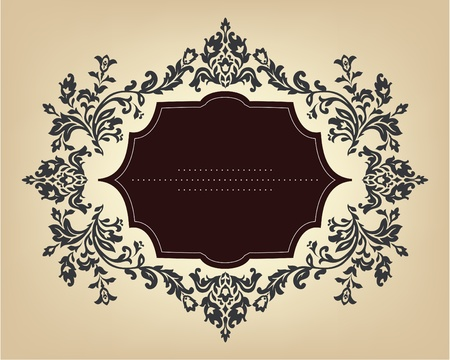 french label: Vintage frame with floral ornament