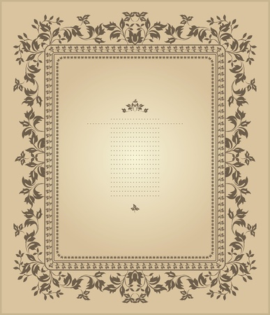 Vintage frame with floral ornament Stock Vector - 12324543