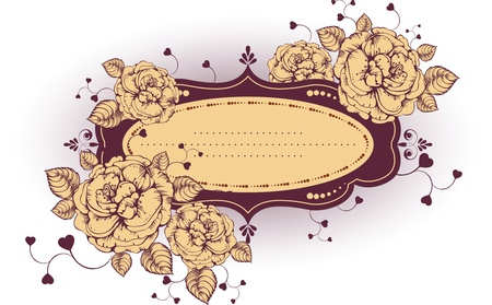 Vintage frame with roses. Vector