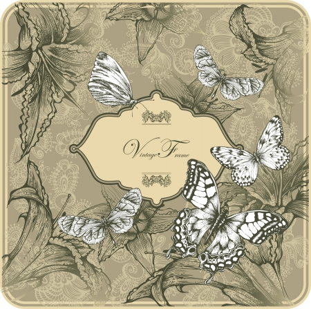 Vintage template with butterflies and blooming lilies.