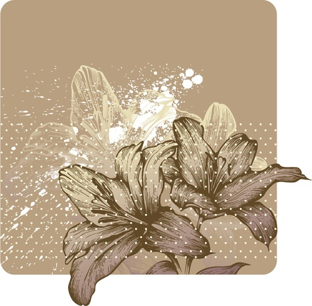 Floral background with blooming royal lilies, hand-drawing. Vector illustration. Vector
