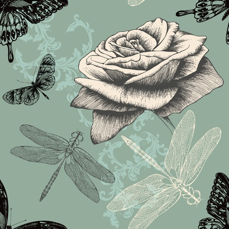 Seamless pattern with rose, decorative butterflies and dragonflies. Hand drawing. Vector.