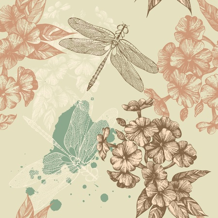 feminine background: Seamless floral background with flying dragonflies, hand-drawing. Vector.