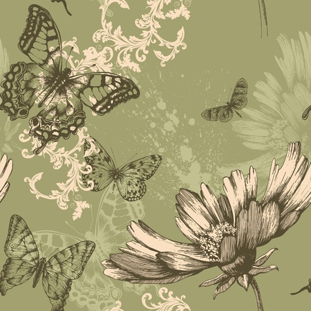 butterfly garden: Seamless floral background with flying butterflies, hand-drawing. Vector. Illustration