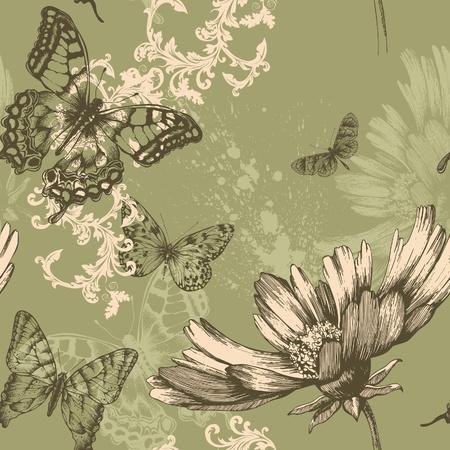 mariposas volando: Seamless floral con mariposas que vuelan, dibujo a mano. Vector.