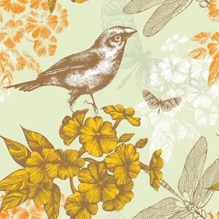 oiseau dessin: Seamless floral avec un oiseau papillons qui volent et Vector libellules dessin � la main