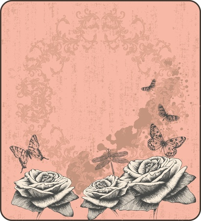 Pink vintage background with decorative butterflies and roses, hand-drawing. Vector. Иллюстрация