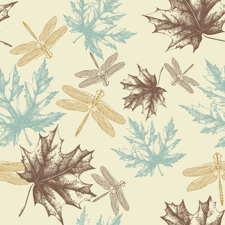 Seamless pattern of autumn, maple leaves and a dragonfly, hand-drawing. Vector.