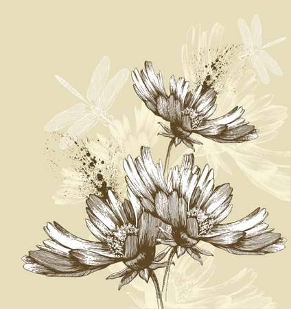Abstract blooming flowers flying dragonflies, hand-drawing. Vector illustration.