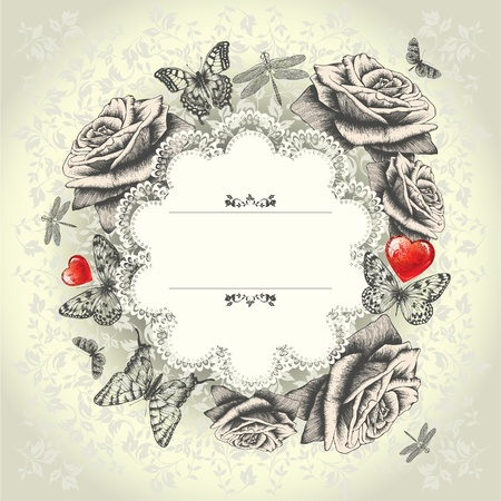 Glamorous lace frame with blooming roses, flying butterflies, red heart. Hand drawing. Vector. Vector