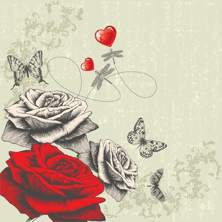 Vintage background with roses, butterflies, dragonflies and red hearts, hand-drawing. Vector.