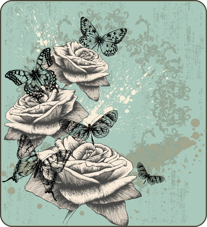 Vintage background with blooming with roses and butterflies, hand-drawing. Vector illustration.