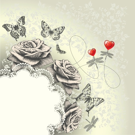 outline wedding: Glamour background with lacy frame, red hearts, flying butterflies, dragonflies. Hand drawing. Vector.