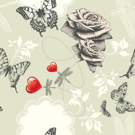 Dragonfly: Seamless wallpaper with roses, butterflies and red hearts, Hand drawing. Vector.