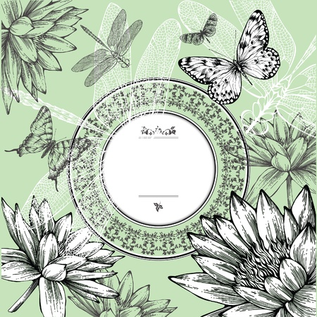 Vintage round frame with water lilies, butterflies and dragonflies, hand-drawing. Vector.