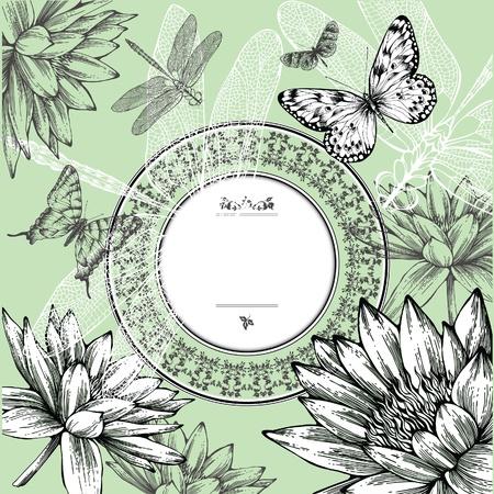 water lilies: Vintage marco redondo con lirios de agua, mariposas y lib�lulas, dibujo a mano. Vector.