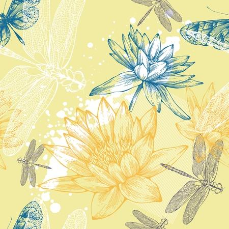 water lilies: De fondo sin fisuras con agua lirios, lib�lulas y mariposas, dibujo a mano. Vector.