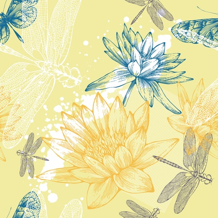 Seamless background with water lilies, dragonflies and butterflies, hand-drawing. Vector.