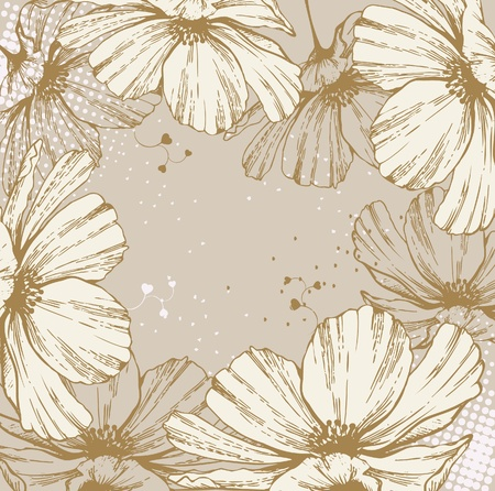 stench: Background with blooming flowers and hearts.