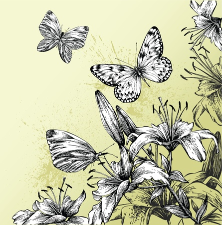 Background with blooming lilies and beautiful butterflies