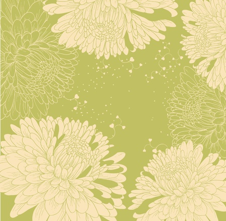 background with chrysanthemums and heart  Vector