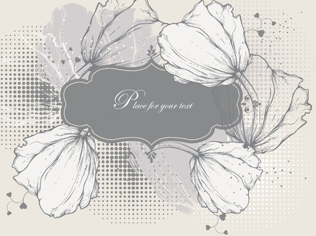 Floral background with a vintage frame and tulips