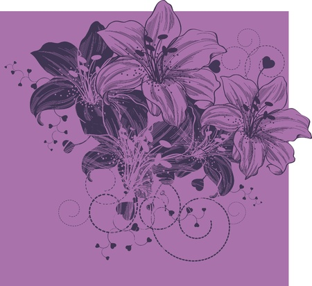 single flowers: Floral background with blooming lilies and heart  Illustration