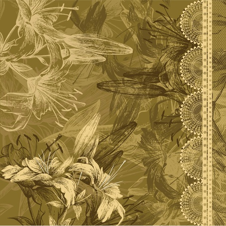 etching pattern: Floral background with blooming lilies and lace Illustration