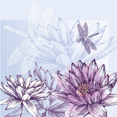 Floral background with blooming water lilies and dragonflies flying Иллюстрация